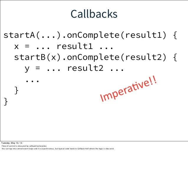 Callbacks startA(...).onComplete(result1) { x = ... result1 ... startB(x).onComplete(result2) { y = ... result2 ... ... } ...