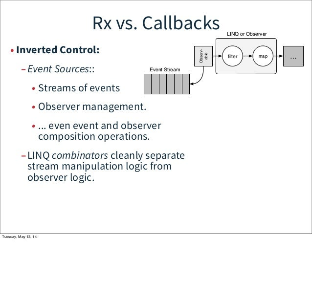 Rx vs. Callbacks • Inverted Control: –Event Sources:: • Streams of events • Observer management. • ... even event and obse...