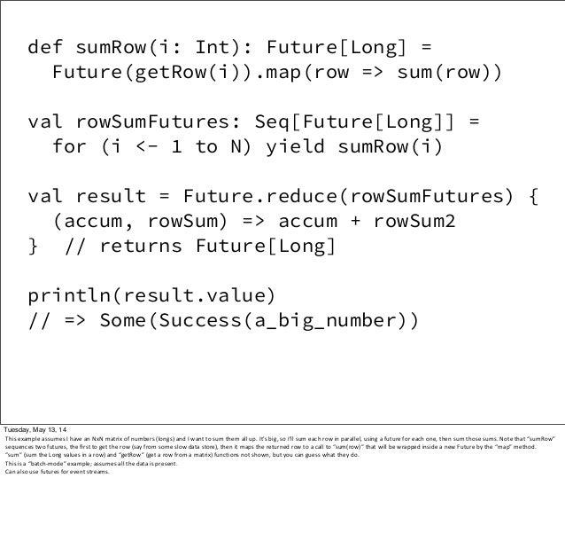 def sumRow(i: Int): Future[Long] = Future(getRow(i)).map(row => sum(row)) val rowSumFutures: Seq[Future[Long]] = for (i <-...
