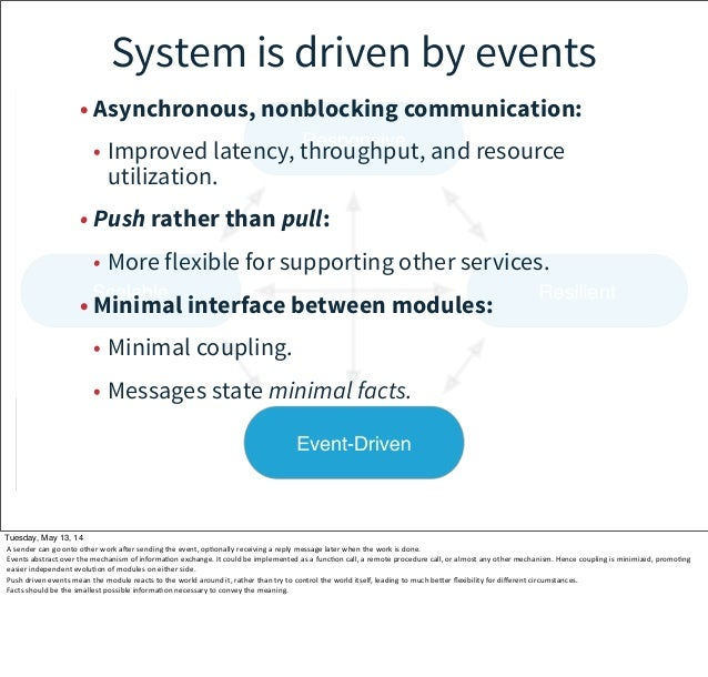 • Asynchronous, nonblocking communication: • Improved latency, throughput, and resource utilization. • Push rather than pu...
