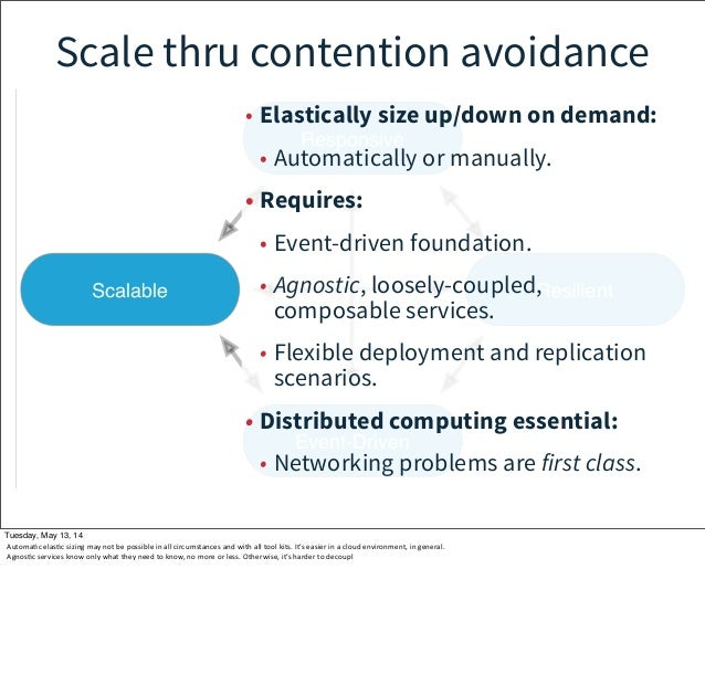 Scale thru contention avoidance • Elastically size up/down on demand: • Automatically or manually. • Requires: • Event-dri...