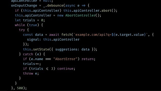 AUTOCOMPLETE ▸ Debounce Input ▸ Fetch Suggestions ▸ Don't Fetch unless input has changed ▸ Retry on Failures ▸ Cancel Prev...