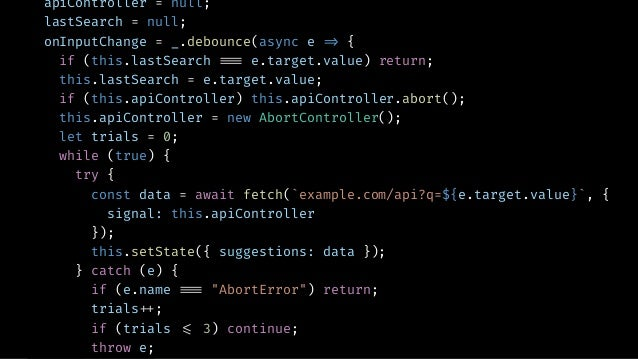 AUTOCOMPLETE USING RXJS const suggestion$ = input$.pipe( debounce(400), distinctUntilChanged(), switchMap((input) !=> ajax...