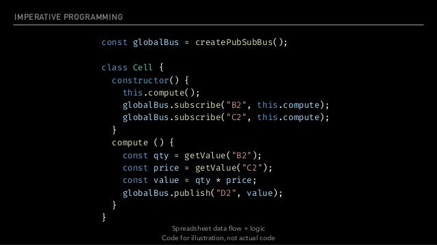 SPREADSHEETS API ▸ Formula shows how value is computed — Declarative ▸ No need to write code to listen for changes ▸ Chang...