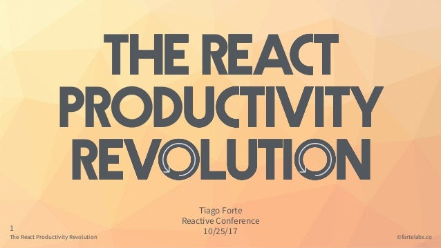The React Productivity Revolution 1 ©fortelabs.co The ReAct PRODuctivity Revolution Tiago Forte Reactive Conference 10/25/...