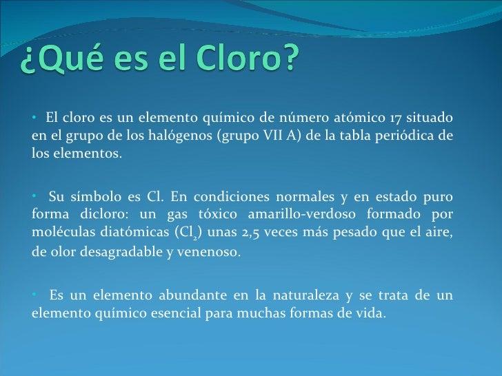 Reactivo: Cloro; 2.