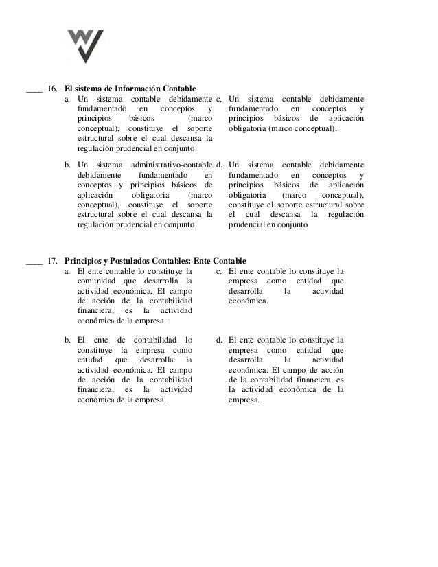 ____ 16. El sistema de Información Contable a. Un sistema contable debidamente fundamentado en conceptos y principios bási...