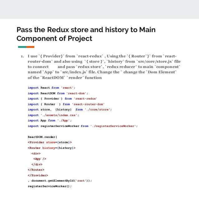 BROWSER HISTORY REACT ROUTER REDUX - How to use react router