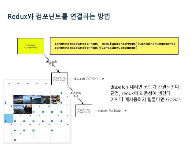 Redux와 컴포넌트를 연결하는 방법 connect(mapStateToProps,mapDispatchToProps)(ContainerComponent) connect(mapStateToProps)(ContainerC...