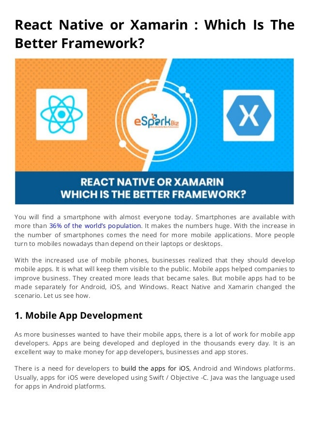 React native or xamarin which is the better framework