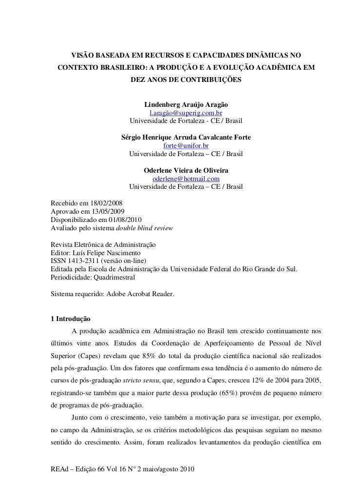 VISÃO BASEADA EM RECURSOS E CAPACIDADES DINÂMICAS NO  CONTEXTO BRASILEIRO: A PRODUÇÃO E A EVOLUÇÃO ACADÊMICA EM           ...