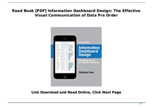 Read Book Pdf Information Dashboard Design The Effective Visual Co