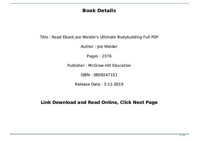 Read Ebook Joe Weider S Ultimate Bodybuilding Full Pdf