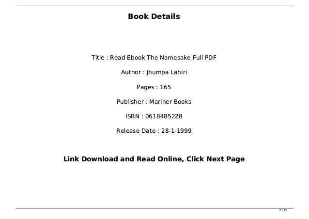 Read Ebook The Namesake Full PDF