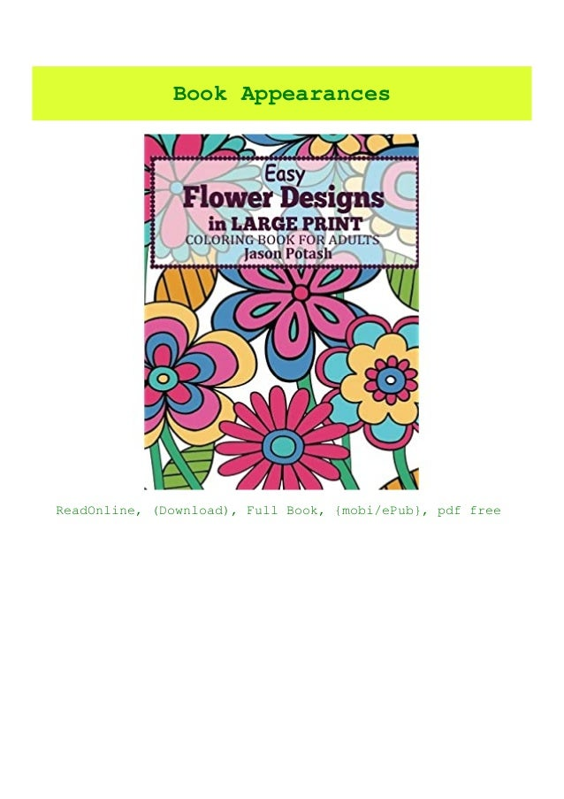 READ-PDF!) Easy Flowers Designs In Large Print Coloring Book For Ad…