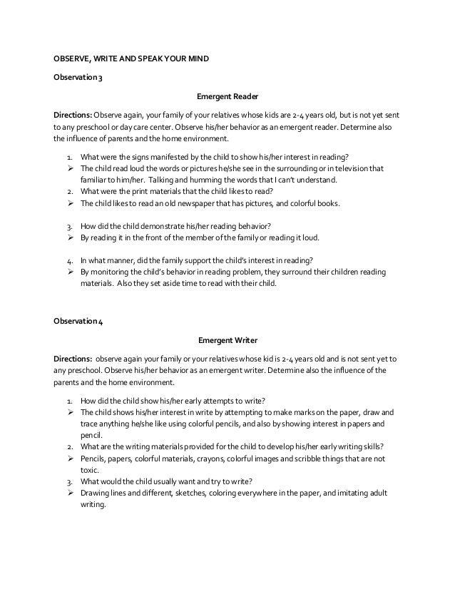Child language observation essays