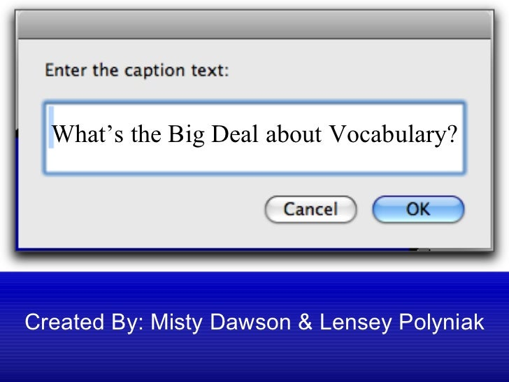 Created By: Misty Dawson & Lensey Polyniak What's the Big Deal about Vocabulary?