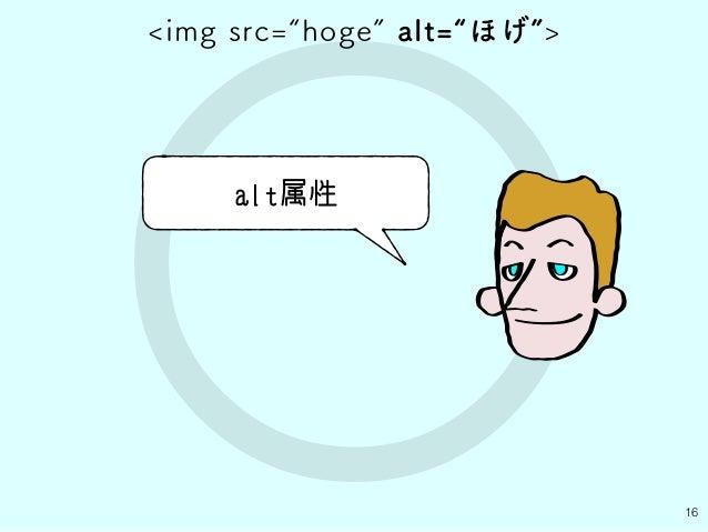 "○ 16 alt属性 <img src=""hoge"" alt=""ほげ"">"