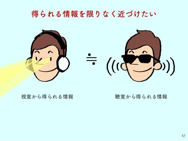 視覚から得られる情報 57 得られる情報を限りなく近づけたい ≒ 聴覚から得られる情報