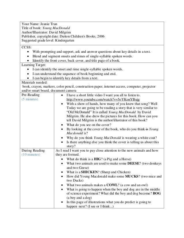 Young macdonald read aloud lesson plan for Interactive read aloud lesson plan template