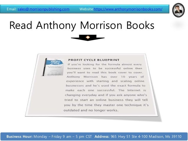 Read Anthony Morrison Books Email: sales@morrisonpublishing.com Website:https://www.anthonymorrisonbooks.com/ Business Hou...