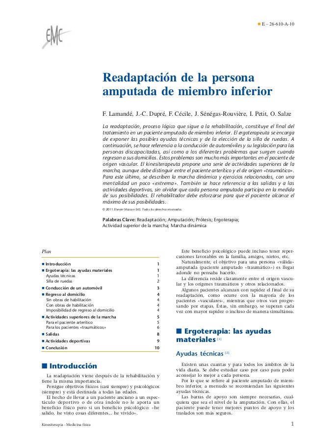 ¶ E – 26-610-A-10  Readaptación de la persona amputada de miembro inferior F. Lamandé, J.-C. Dupré, F. Cécile, J. Sénégas-...