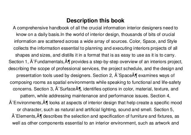Read Color, Space, and Style: All the Details Interior Designers Need to Know but Can Never Find  PDF Full Ebook Free Slide 3