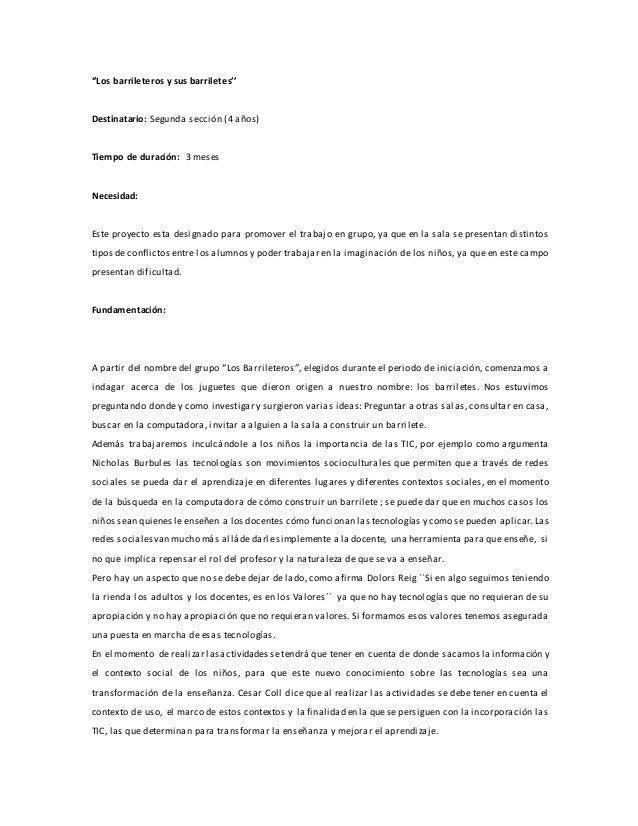 ''Los barrileteros y sus barriletes''  Destinatario: Segunda sección (4 años)  Tiempo de duración: 3 meses  Necesidad:  Es...