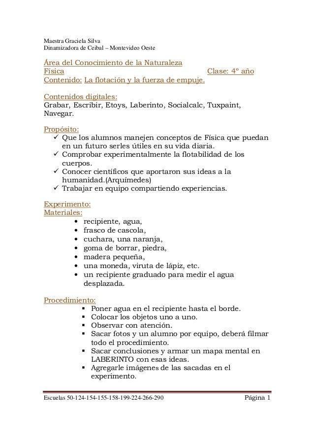 Maestra Graciela Silva Dinamizadora de Ceibal – Montevideo Oeste Escuelas 50-124-154-155-158-199-224-266-290 Página 1 Área...