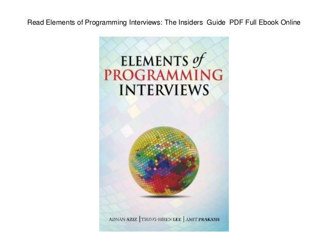 Elements Of Programming Interviews Pdf