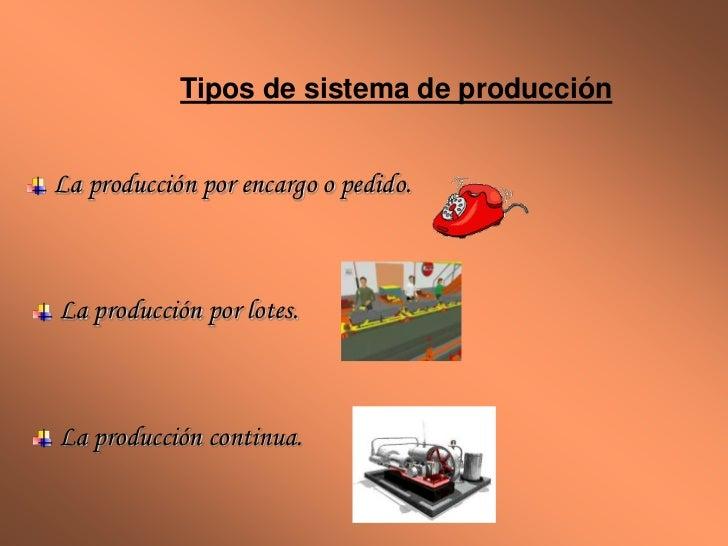 Tipos de sistema de producciónLa producción por encargo o pedido.La producción por lotes.La producción continua.