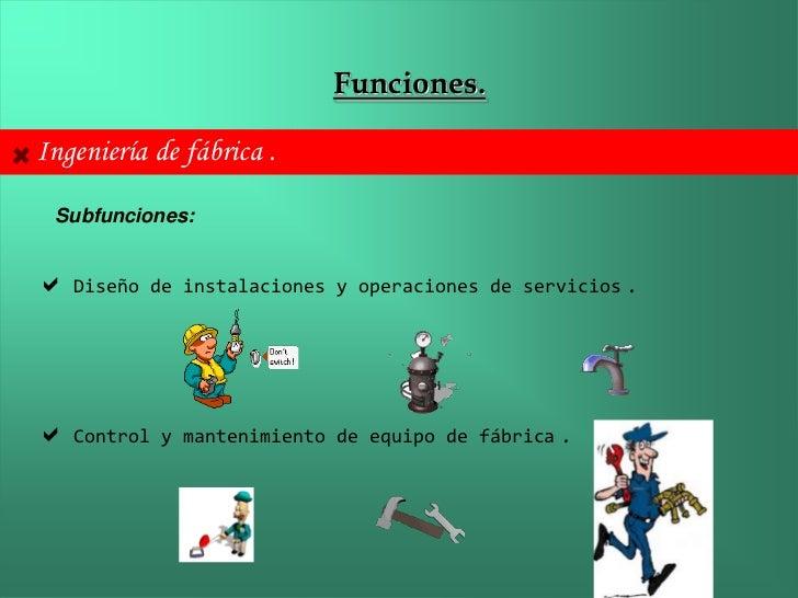 Funciones.Ingeniería de fábrica . Subfunciones: Diseño    de instalaciones y operaciones de servicios   . Control   y ma...