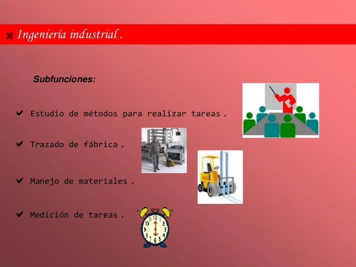 Ingeniería industrial .   Subfunciones: Estudio    de métodos para realizar tareas   . Trazado    de fábrica   . Manejo...