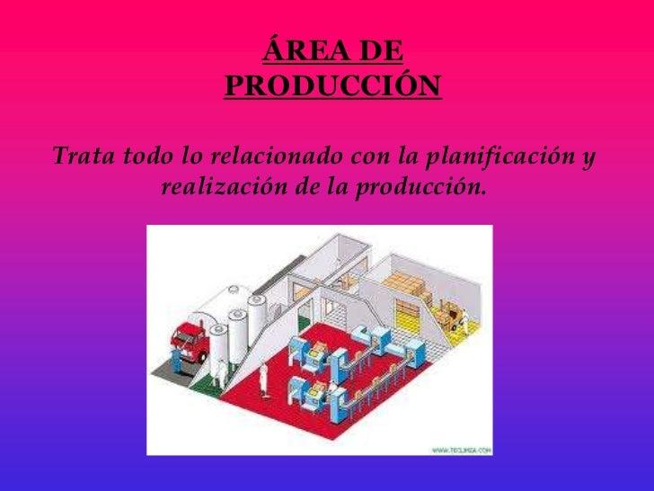 ÁREA DE               PRODUCCIÓNTrata todo lo relacionado con la planificación y         realización de la producción.