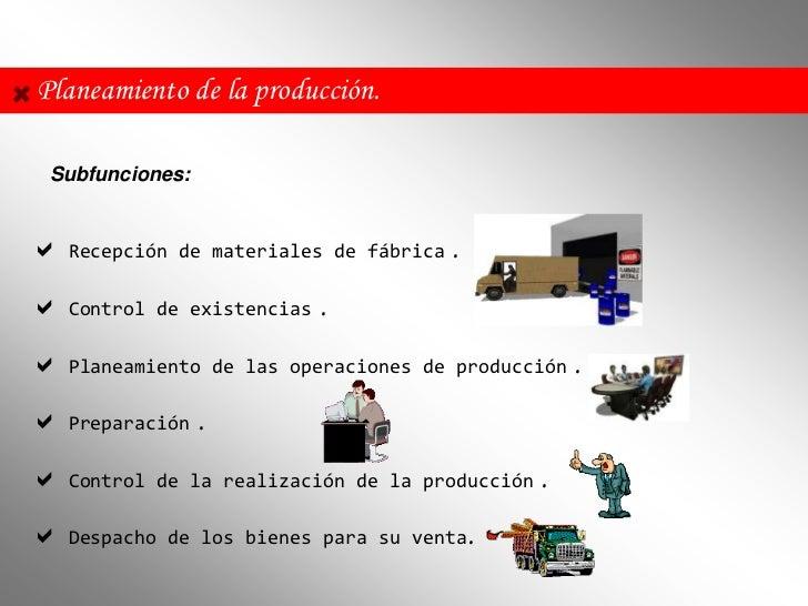 Planeamiento de la producción. Subfunciones: Recepción    de materiales de fábrica   . Control    de existencias   . Pl...