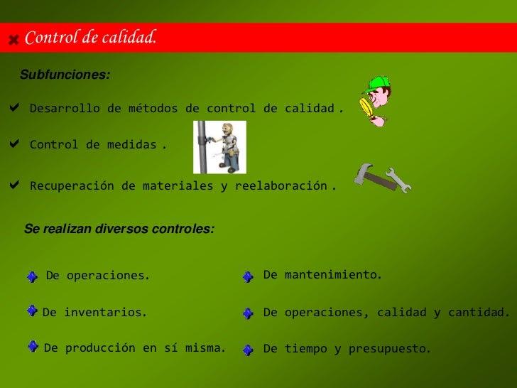 Control de calidad. Subfunciones: Desarrollo   de métodos de control de calidad       . Control   de medidas   . Recupe...