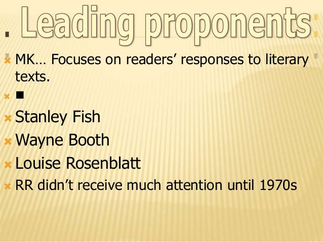 """the importance of reading response theory in the interpretation of different texts -intrinsic meaning of texts literature expresses """"universal truths""""  -draws upon and influences every other critical theory-recognition of different degrees ."""