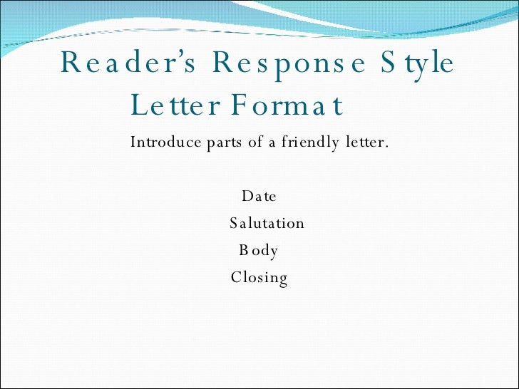 Readers response journal readers response style letter format spiritdancerdesigns Choice Image
