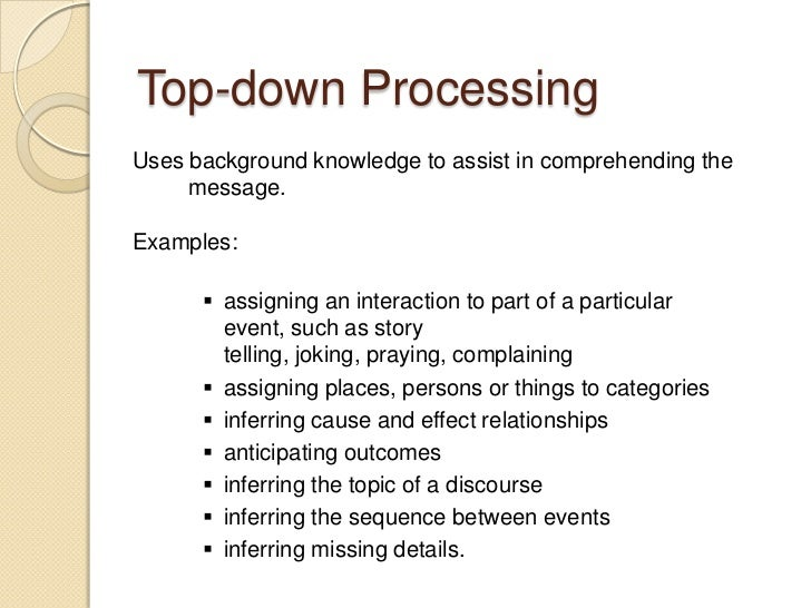 top down processing essay example Bottom-up and top-down processing in visual perception thomas serre brown university department of cognitive & linguistic sciences brown institute for.