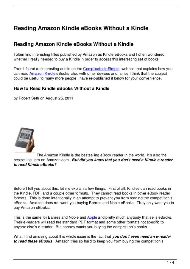 Reading Amazon Kindle eBooks Without a KindleReading Amazon Kindle eBooks Without a KindleI often find interesting titles ...