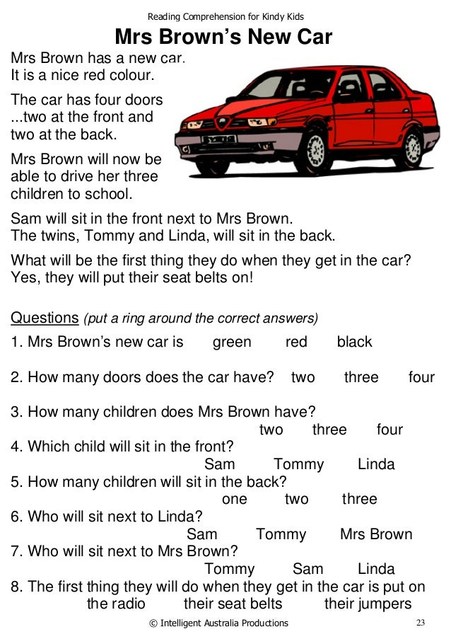 reading comprehension worksheets for kids