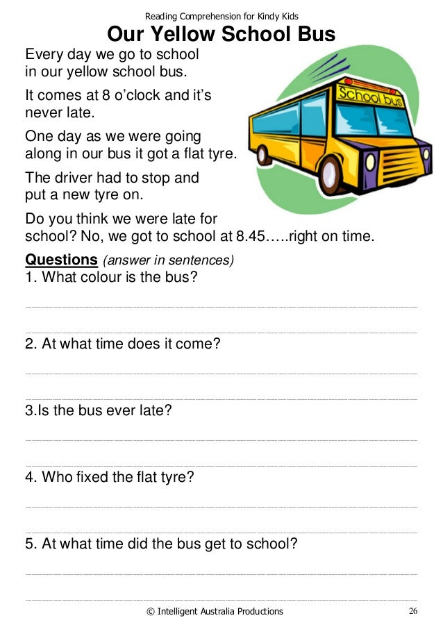 Worksheets Reading Comprehension For Kids reading comprehension for kindy kids