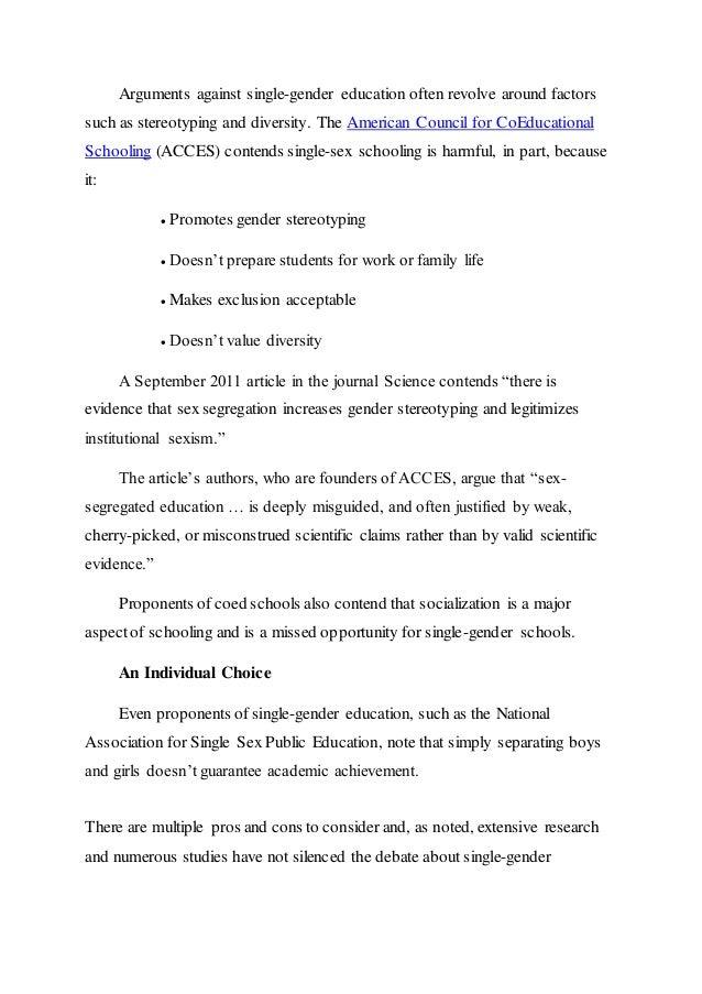 Journal articals on same sex education
