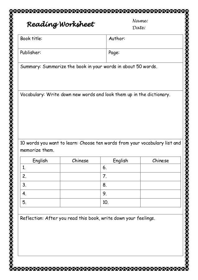 Reading worksheet (writing acivities)