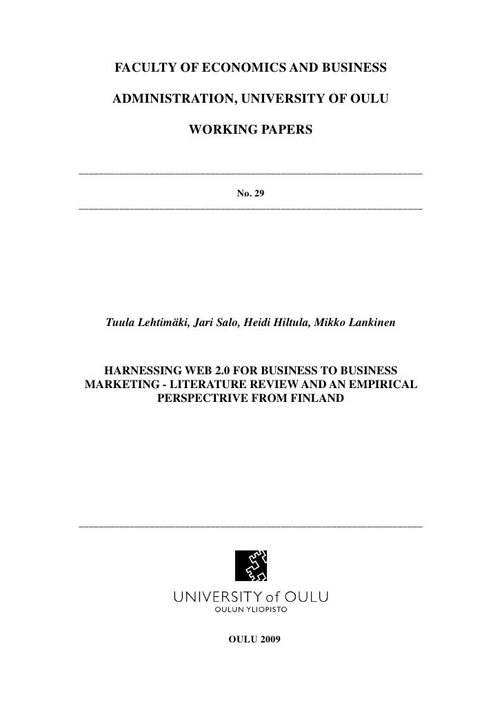 FACULTY OF ECONOMICS AND BUSINESS        ADMINISTRATION, UNIVERSITY OF OULU                       WORKING PAPERS  ________...