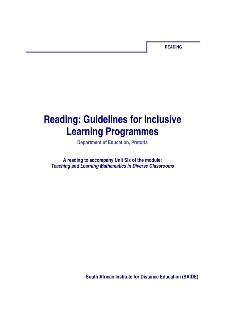 READINGReading: Guidelines for Inclusive     Learning Programmes            Department of Education, Pretoria      A readi...
