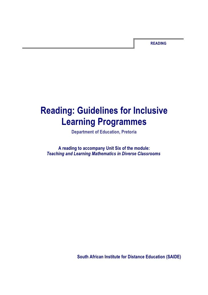 READINGReading: Guidelines for Inclusive     Learning Programmes             Department of Education, Pretoria      A read...