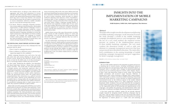 INSIGHTS INTO THE                IMPLEMENTATION OF MOBILE                  MARKETING CAMPAIGNS                         Hei...