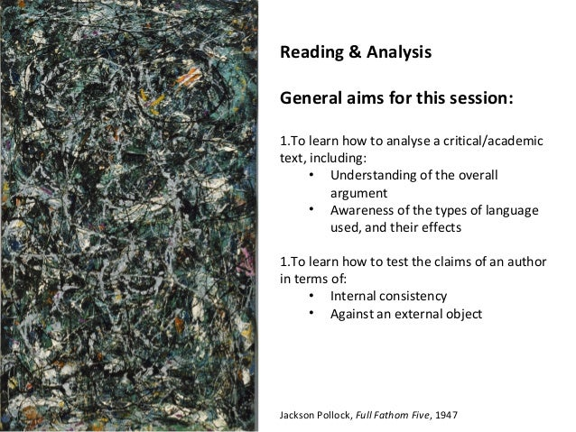 Reading & AnalysisGeneral aims for this session:1.To learn how to analyse a critical/academictext, including:      • Under...