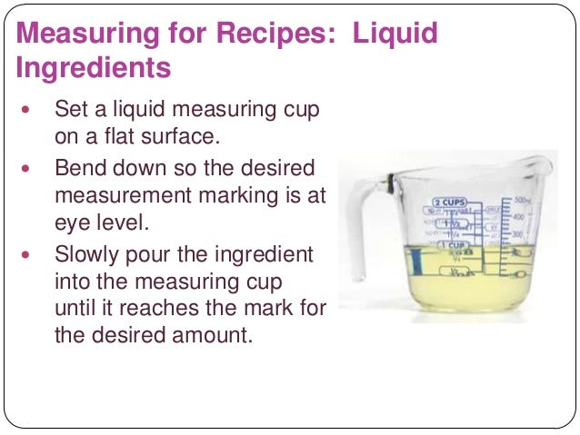 Reading and using a recipe